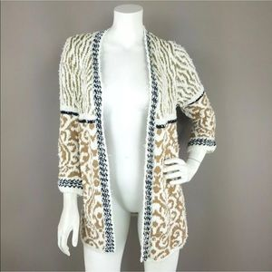 CHICO'S TEXTURED MULTI PATTERN OPEN FRONT CARDIGAN
